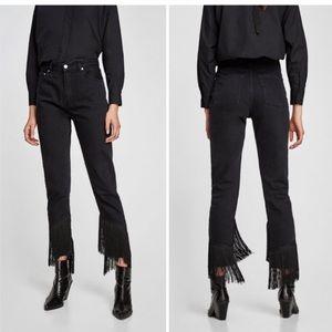 NEW Zara Fringe Crop Jeans High Rise Black